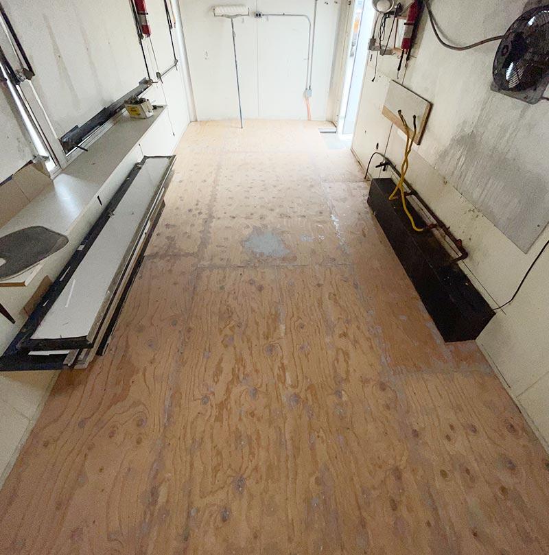 Before Installation of epoxy floor in food truck