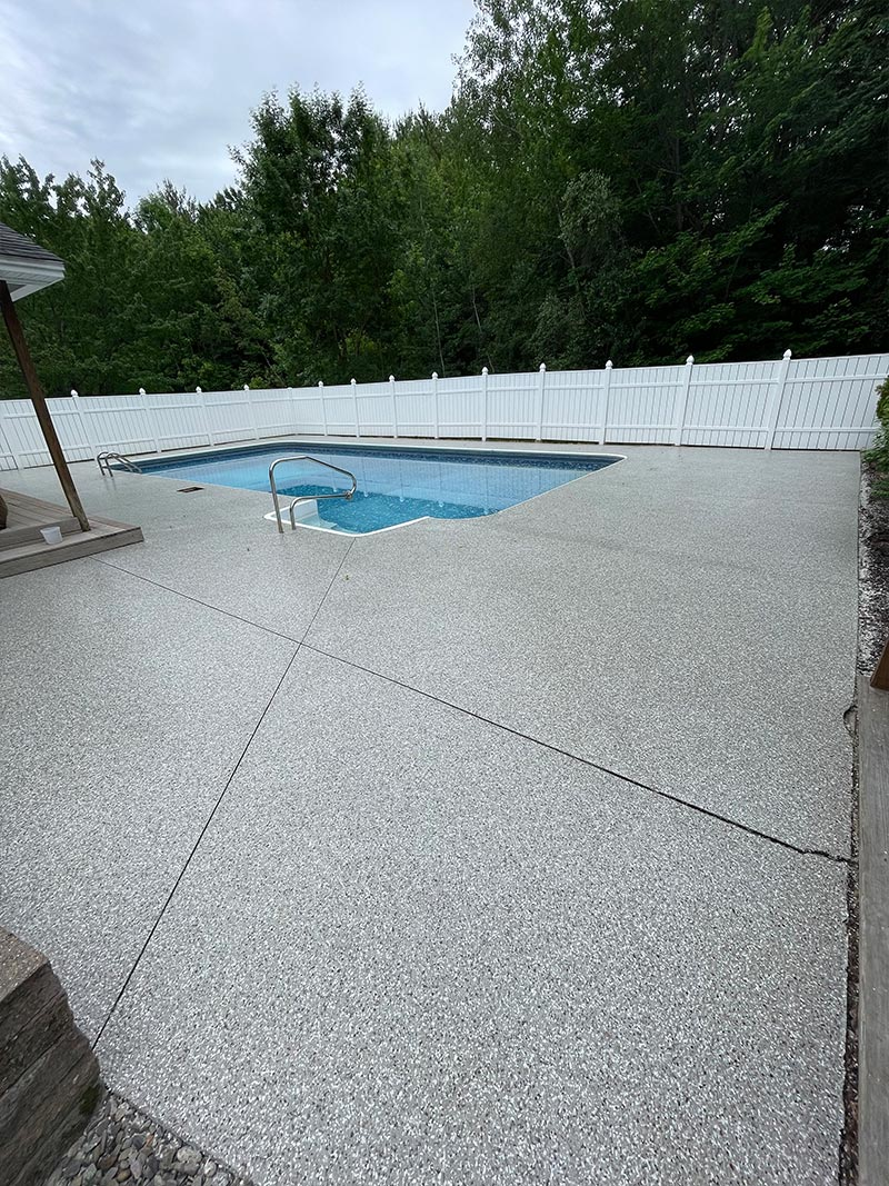 Full Pool area with epoxy pool deck