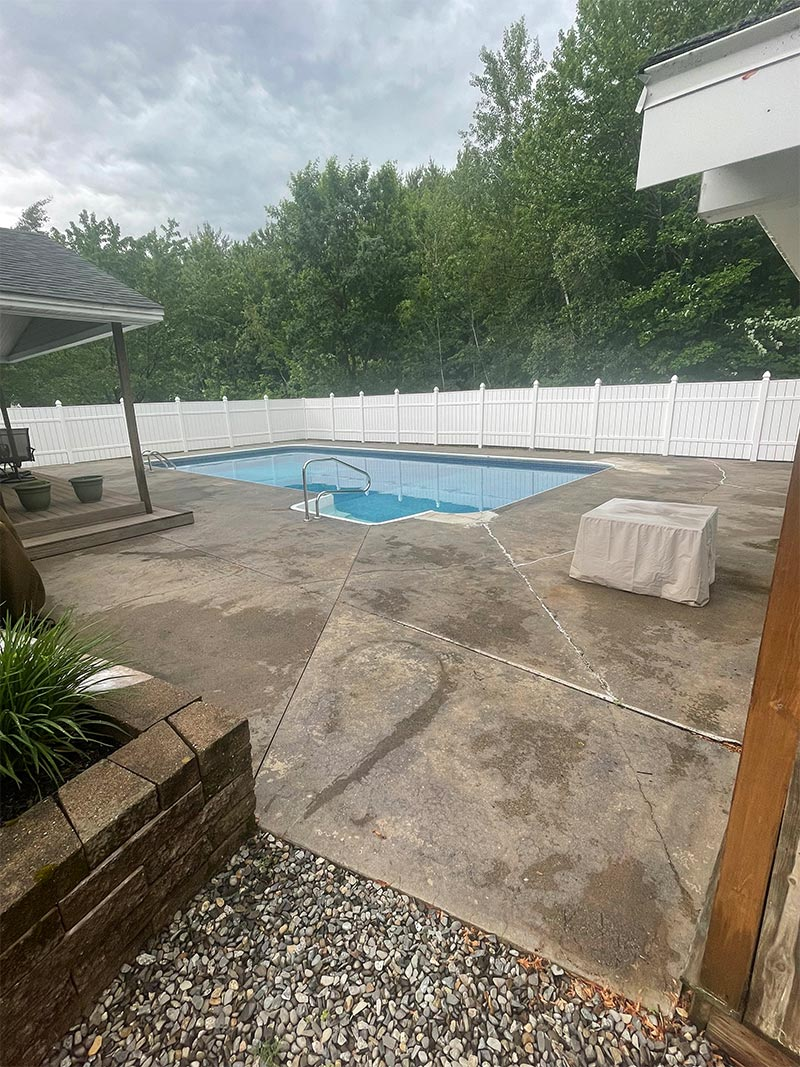 Before epoxy installation on pool deck