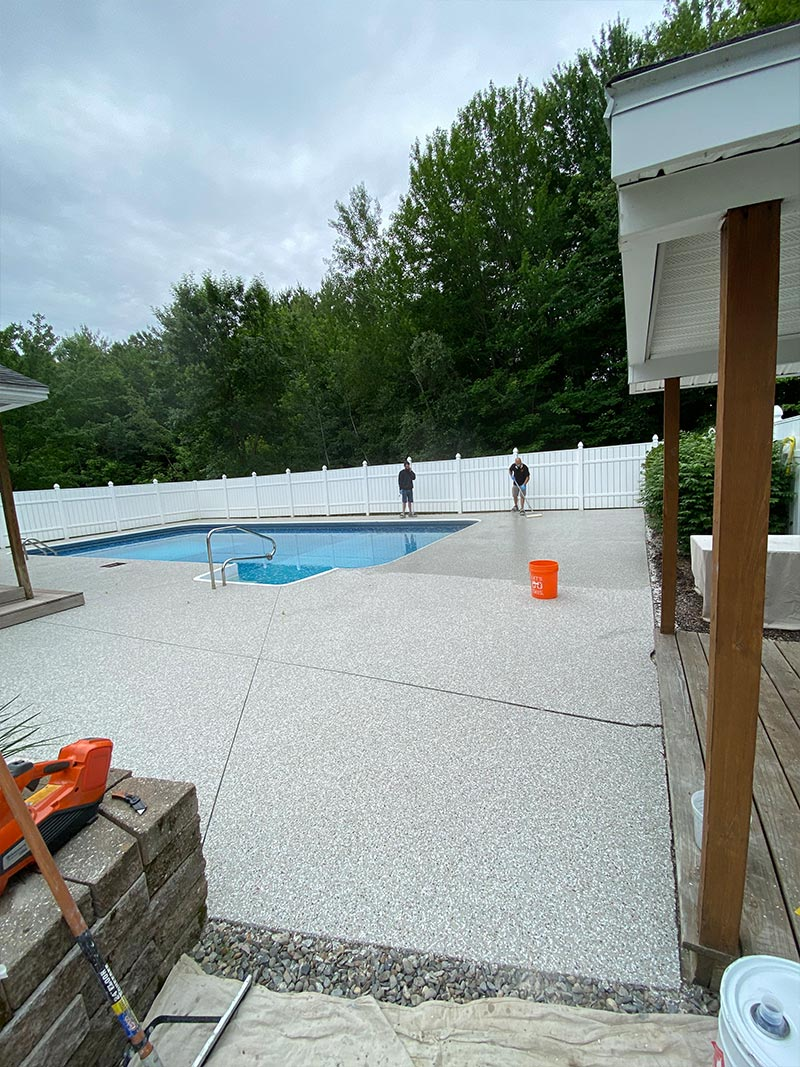 After epoxy installation on pool deck