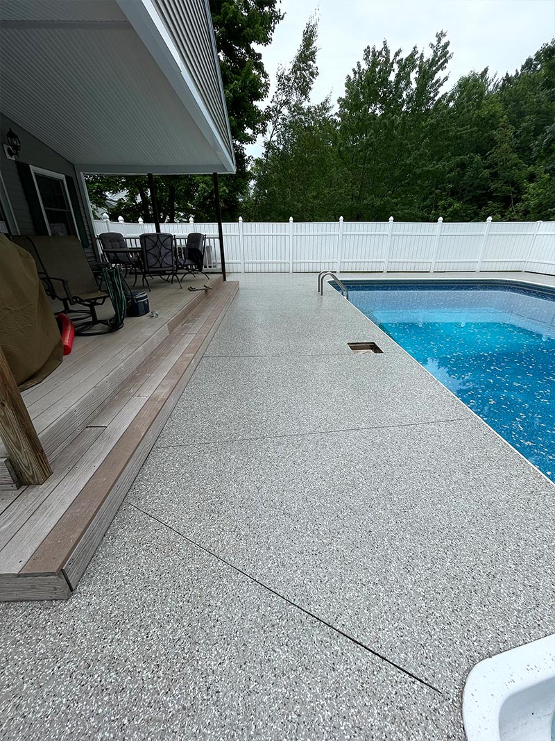 After epoxy installation on pool deck walkway