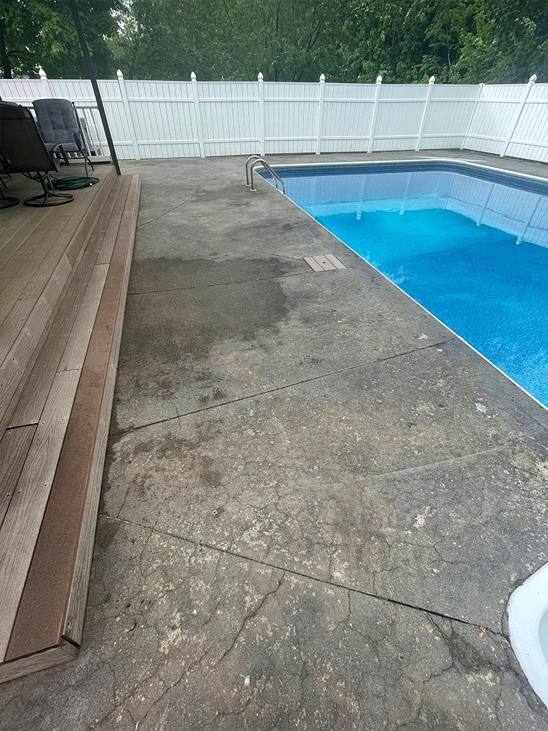 Before epoxy installation on pool deck walkway