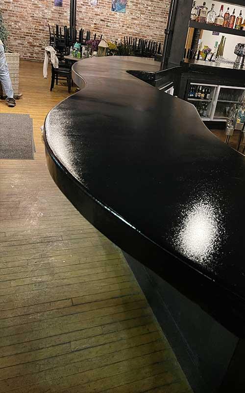 Before epoxy installation on countertop