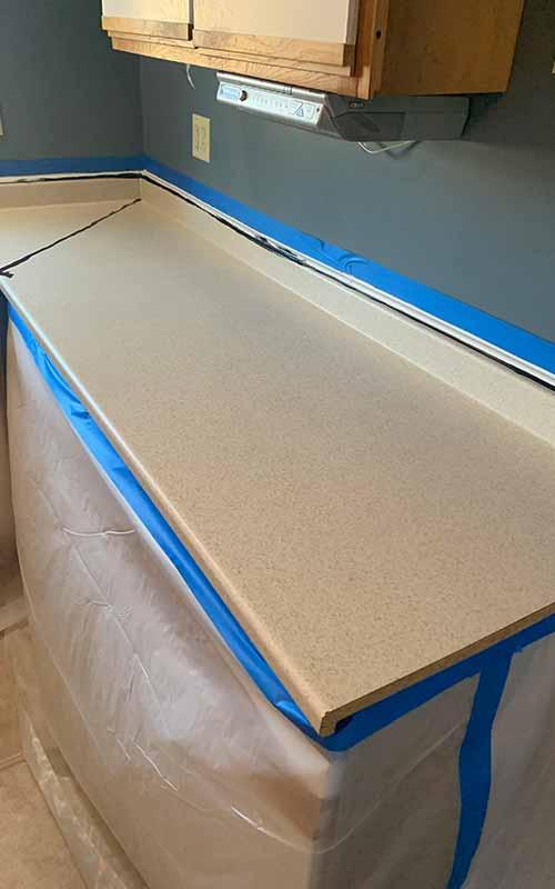 Before epoxy installation on countertops