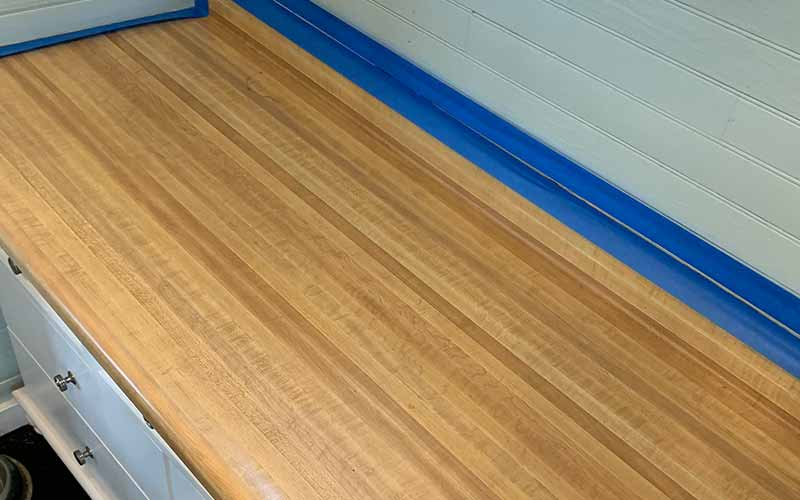 Before Epoxy is put on countertop long stretch