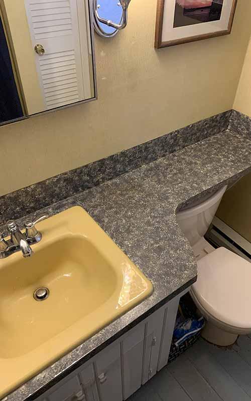 Before shot of bathroom countertop