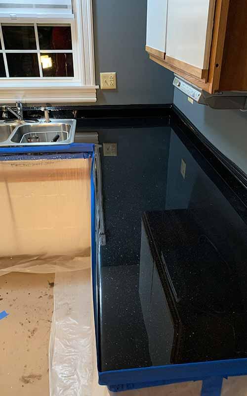 Black epoxy countertop
