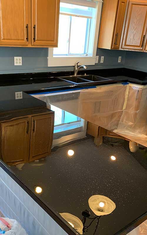 Large one piece countertop epoxy