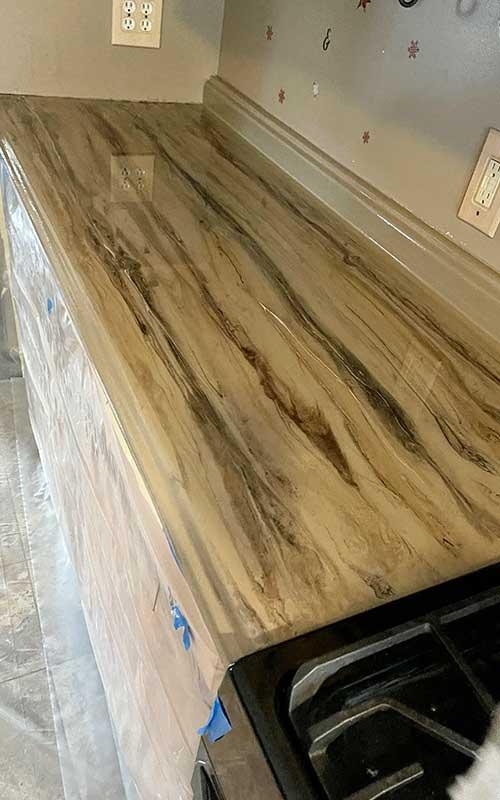 Wood design on epoxy countertop